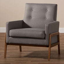 Baxton Studio Perris Mid-Century Modern Grey Fabric Upholstered Walnut Wood Lounge Chair Baxton Studio-chairs-Minimal And Modern - 8