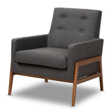 Baxton Studio Perris Mid-Century Modern Dark Grey Fabric Upholstered Walnut Wood Lounge Chair Baxton Studio-chairs-Minimal And Modern - 1