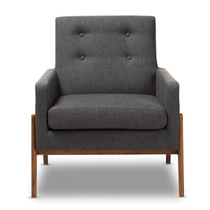 Baxton Studio Perris Mid-Century Modern Dark Grey Fabric Upholstered Walnut Wood Lounge Chair Baxton Studio-chairs-Minimal And Modern - 2