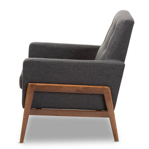 Baxton Studio Perris Mid-Century Modern Dark Grey Fabric Upholstered Walnut Wood Lounge Chair Baxton Studio-chairs-Minimal And Modern - 3
