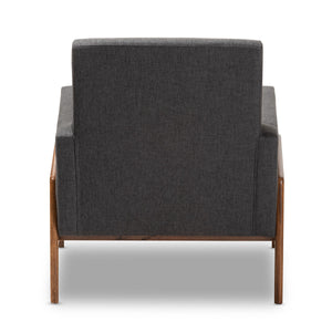 Baxton Studio Perris Mid-Century Modern Dark Grey Fabric Upholstered Walnut Wood Lounge Chair Baxton Studio-chairs-Minimal And Modern - 4