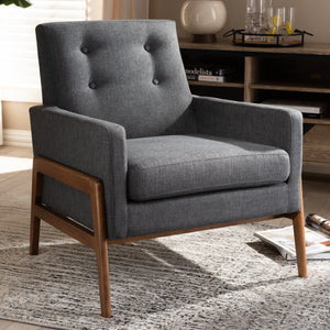 Baxton Studio Perris Mid-Century Modern Dark Grey Fabric Upholstered Walnut Wood Lounge Chair Baxton Studio-chairs-Minimal And Modern - 7