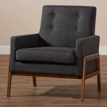 Baxton Studio Perris Mid-Century Modern Dark Grey Fabric Upholstered Walnut Wood Lounge Chair Baxton Studio-chairs-Minimal And Modern - 8
