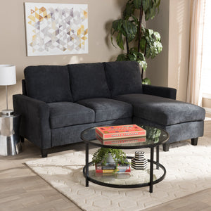 Baxton Studio Greyson Modern And Contemporary Dark Grey Fabric Upholstered Reversible Sectional Sofa Baxton Studio-sofas-Minimal And Modern - 4