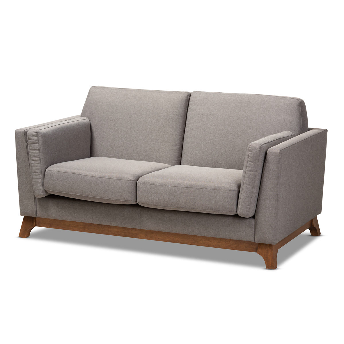 Baxton Studio Sava Mid-Century Modern Grey Fabric Upholstered Walnut Wood 2-Seater Loveseat Baxton Studio-loveseat-Minimal And Modern - 1