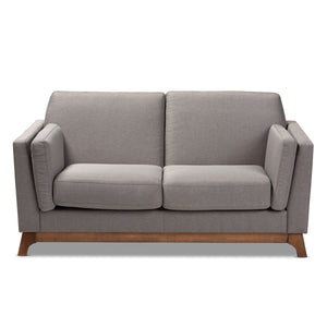 Baxton Studio Sava Mid-Century Modern Grey Fabric Upholstered Walnut Wood 2-Seater Loveseat Baxton Studio-loveseat-Minimal And Modern - 2