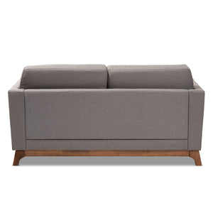 Baxton Studio Sava Mid-Century Modern Grey Fabric Upholstered Walnut Wood 2-Seater Loveseat Baxton Studio-loveseat-Minimal And Modern - 4