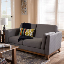 Baxton Studio Sava Mid-Century Modern Grey Fabric Upholstered Walnut Wood 2-Seater Loveseat Baxton Studio-loveseat-Minimal And Modern - 7