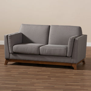 Baxton Studio Sava Mid-Century Modern Grey Fabric Upholstered Walnut Wood 2-Seater Loveseat Baxton Studio-loveseat-Minimal And Modern - 8