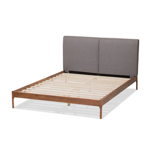 Baxton Studio Aveneil Mid-Century Modern Grey Fabric Upholstered Walnut Finished Queen Size Platform Bed Baxton Studio-beds-Minimal And Modern - 4