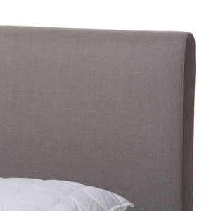 Baxton Studio Aveneil Mid-Century Modern Grey Fabric Upholstered Walnut Finished Queen Size Platform Bed Baxton Studio-beds-Minimal And Modern - 5