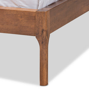 Baxton Studio Aveneil Mid-Century Modern Grey Fabric Upholstered Walnut Finished Full Size Platform Bed Baxton Studio-beds-Minimal And Modern - 6