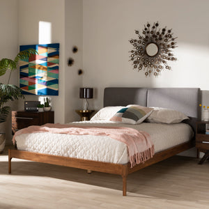 Baxton Studio Aveneil Mid-Century Modern Grey Fabric Upholstered Walnut Finished Full Size Platform Bed Baxton Studio-beds-Minimal And Modern - 7