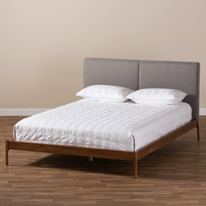 Baxton Studio Aveneil Mid-Century Modern Grey Fabric Upholstered Walnut Finished Full Size Platform Bed Baxton Studio-beds-Minimal And Modern - 8