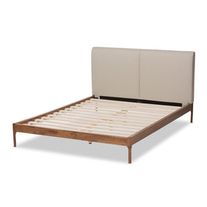 Baxton Studio Aveneil Mid-Century Modern Beige Fabric Upholstered Walnut Finished Full Size Platform Bed Baxton Studio-beds-Minimal And Modern - 4
