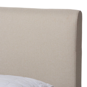 Baxton Studio Aveneil Mid-Century Modern Beige Fabric Upholstered Walnut Finished Full Size Platform Bed Baxton Studio-beds-Minimal And Modern - 5