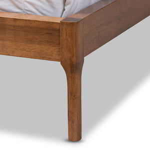 Baxton Studio Aveneil Mid-Century Modern Beige Fabric Upholstered Walnut Finished Full Size Platform Bed Baxton Studio-beds-Minimal And Modern - 6