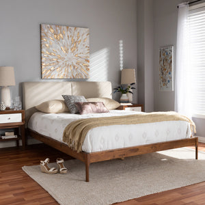 Baxton Studio Aveneil Mid-Century Modern Beige Fabric Upholstered Walnut Finished Full Size Platform Bed Baxton Studio-beds-Minimal And Modern - 7