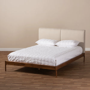 Baxton Studio Aveneil Mid-Century Modern Beige Fabric Upholstered Walnut Finished Full Size Platform Bed Baxton Studio-beds-Minimal And Modern - 8