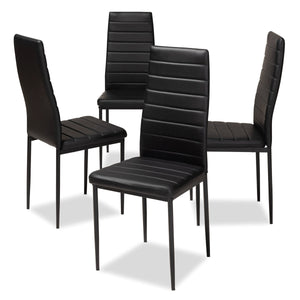 Baxton Studio Armand Modern and Contemporary Black Faux Leather Upholstered Dining Chair (Set of 4) Baxton Studio-dining chair-Minimal And Modern - 1