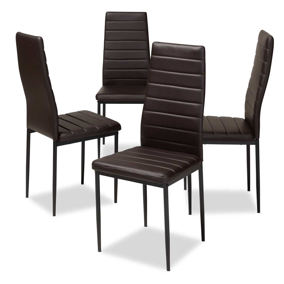 Baxton Studio Armand Modern and Contemporary Brown Faux Leather Upholstered Dining Chair (Set of 4) Baxton Studio-dining chair-Minimal And Modern - 1