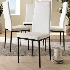Baxton Studio Armand Modern and Contemporary White Faux Leather Upholstered Dining Chair (Set of 4) Baxton Studio-dining chair-Minimal And Modern - 3