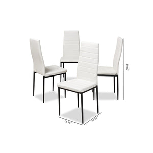 Baxton Studio Armand Modern and Contemporary White Faux Leather Upholstered Dining Chair (Set of 4) Baxton Studio-dining chair-Minimal And Modern - 5