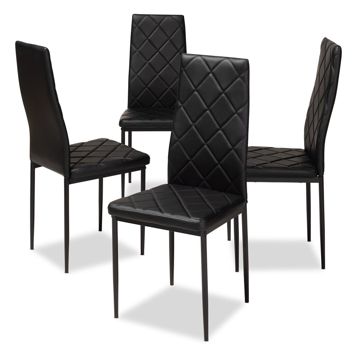Baxton Studio Blaise Modern and Contemporary Black Faux Leather Upholstered Dining Chair (Set of 4) Baxton Studio-dining chair-Minimal And Modern - 1