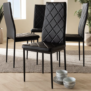 Baxton Studio Blaise Modern and Contemporary Black Faux Leather Upholstered Dining Chair (Set of 4) Baxton Studio-dining chair-Minimal And Modern - 3