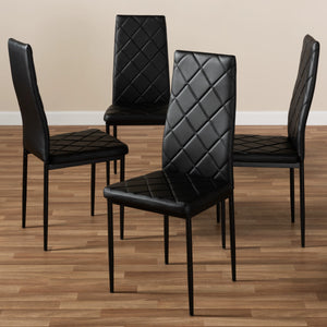 Baxton Studio Blaise Modern and Contemporary Black Faux Leather Upholstered Dining Chair (Set of 4) Baxton Studio-dining chair-Minimal And Modern - 4