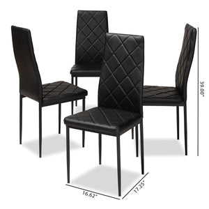 Baxton Studio Blaise Modern and Contemporary Black Faux Leather Upholstered Dining Chair (Set of 4) Baxton Studio-dining chair-Minimal And Modern - 5