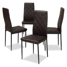 Baxton Studio Blaise Modern and Contemporary Brown Faux Leather Upholstered Dining Chair (Set of 4) Baxton Studio-dining chair-Minimal And Modern - 1