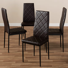 Baxton Studio Blaise Modern and Contemporary Brown Faux Leather Upholstered Dining Chair (Set of 4) Baxton Studio-dining chair-Minimal And Modern - 4