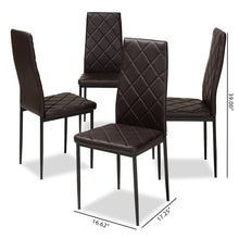 Baxton Studio Blaise Modern and Contemporary Brown Faux Leather Upholstered Dining Chair (Set of 4) Baxton Studio-dining chair-Minimal And Modern - 5