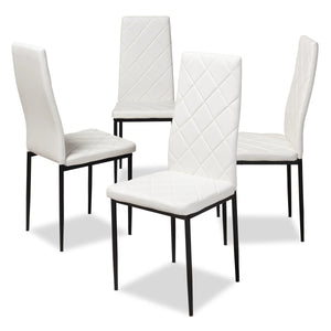 Baxton Studio Blaise Modern and Contemporary White Faux Leather Upholstered Dining Chair (Set of 4) Baxton Studio-dining chair-Minimal And Modern - 1