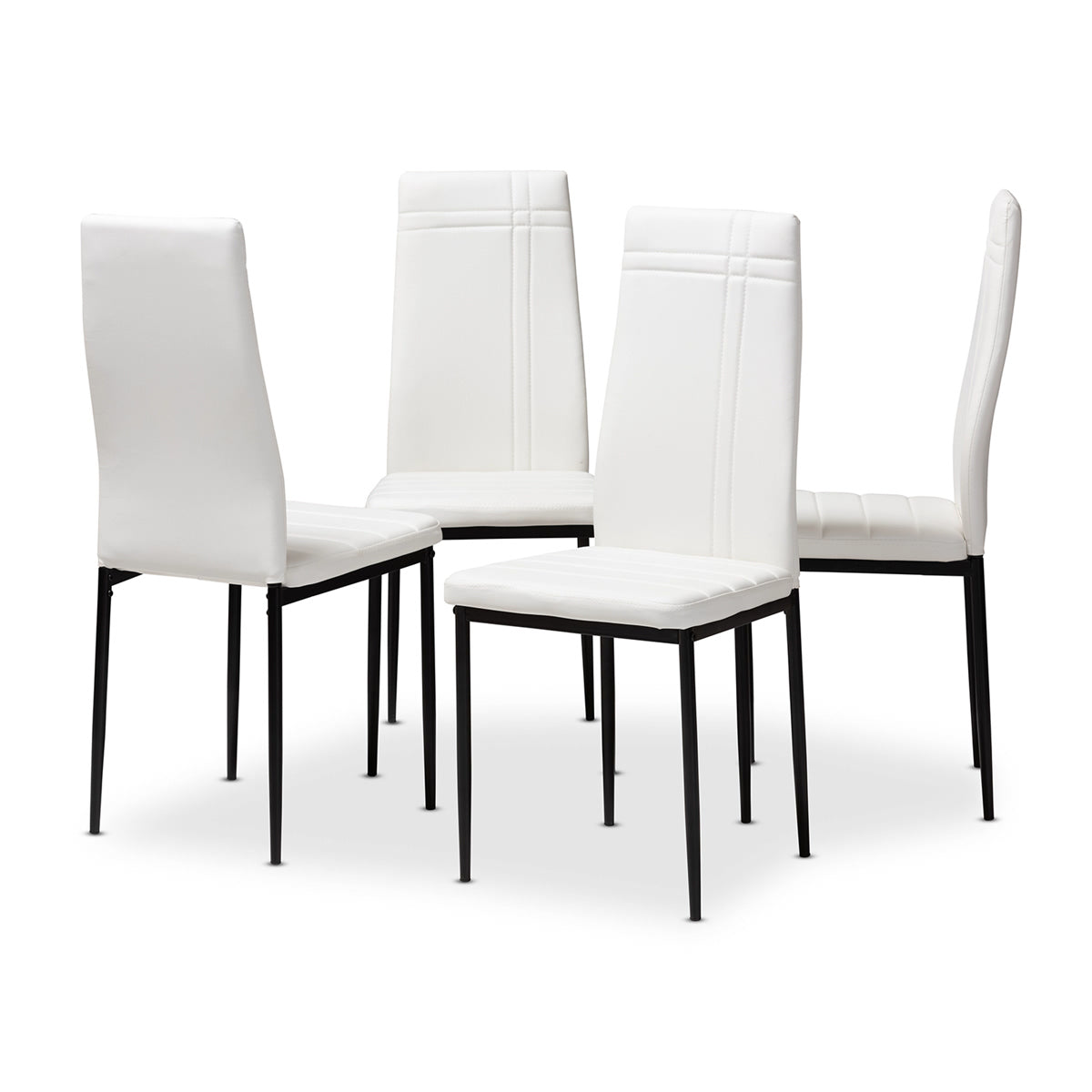 Baxton Studio Matiese Modern and Contemporary White Faux Leather Upholstered Dining Chair (Set of 4) Baxton Studio-dining chair-Minimal And Modern - 1