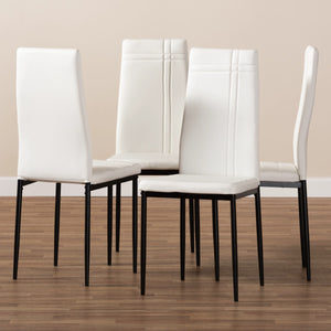 Baxton Studio Matiese Modern and Contemporary White Faux Leather Upholstered Dining Chair (Set of 4) Baxton Studio-dining chair-Minimal And Modern - 5