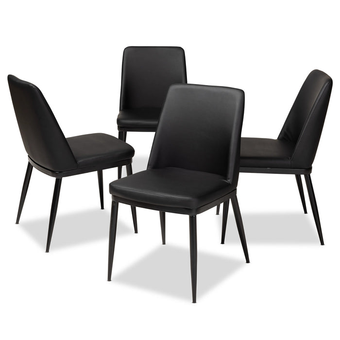 Baxton Studio Darcell Modern and Contemporary Black Faux Leather Upholstered Dining Chair (Set of 4) Baxton Studio-dining chair-Minimal And Modern - 1