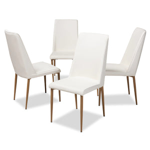 Baxton Studio Chandelle Modern and Contemporary White Faux Leather Upholstered Dining Chair (Set of 4) Baxton Studio-dining chair-Minimal And Modern - 1