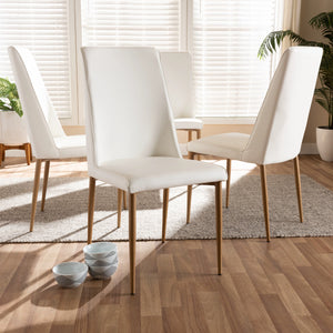 Baxton Studio Chandelle Modern and Contemporary White Faux Leather Upholstered Dining Chair (Set of 4) Baxton Studio-dining chair-Minimal And Modern - 3