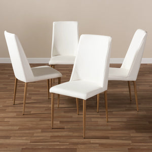 Baxton Studio Chandelle Modern and Contemporary White Faux Leather Upholstered Dining Chair (Set of 4) Baxton Studio-dining chair-Minimal And Modern - 4