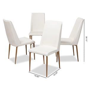 Baxton Studio Chandelle Modern and Contemporary White Faux Leather Upholstered Dining Chair (Set of 4) Baxton Studio-dining chair-Minimal And Modern - 5