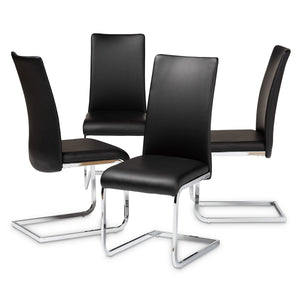 Baxton Studio Cyprien Modern and Contemporary Black Faux Leather Upholstered Dining Chair (Set of 4) Baxton Studio-dining chair-Minimal And Modern - 1