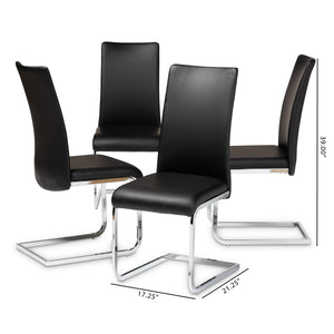 Baxton Studio Cyprien Modern and Contemporary Black Faux Leather Upholstered Dining Chair (Set of 4) Baxton Studio-dining chair-Minimal And Modern - 5