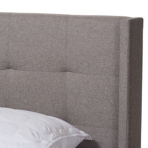 Baxton Studio Lisette Modern and Contemporary Grey Fabric Upholstered King Size Bed Baxton Studio-0-Minimal And Modern - 4