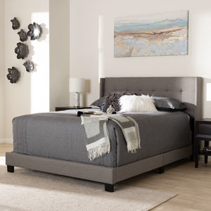 Baxton Studio Lisette Modern and Contemporary Grey Fabric Upholstered King Size Bed Baxton Studio-0-Minimal And Modern - 6