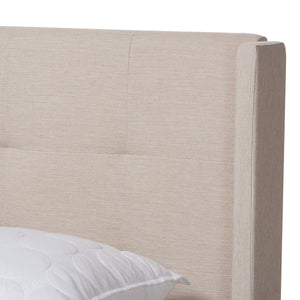 Baxton Studio Lisette Modern and Contemporary Beige Fabric Upholstered Queen Size Bed Baxton Studio-0-Minimal And Modern - 4