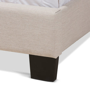Baxton Studio Lisette Modern and Contemporary Beige Fabric Upholstered Queen Size Bed Baxton Studio-0-Minimal And Modern - 5