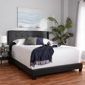 Baxton Studio Lisette Modern and Contemporary Charcoal Grey Fabric Upholstered Full Size Bed Baxton Studio-0-Minimal And Modern - 7