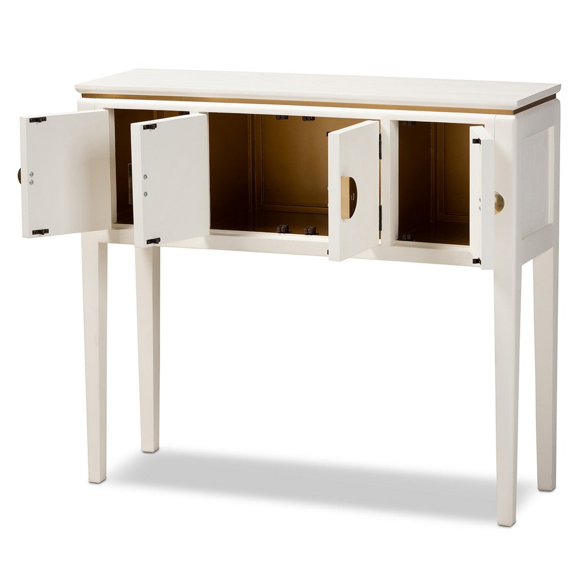 Baxton Studio Aiko Classic and Traditional Japanese-Inspired Off-White Finished 4-Door Wood Console Table Baxton Studio-side tables-Minimal And Modern - 1